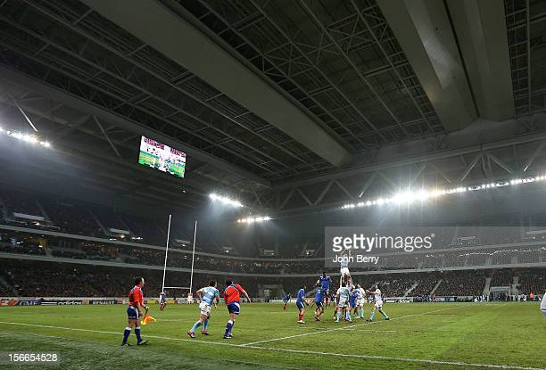The new Grand Stade Lille Metropole stadium was covered by the roof for the rugby autumn international between France and Argentina on November 17...