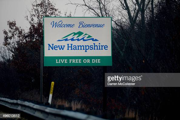 The New Hampshire state sign is seen on Route 93 north November 6 2015 in Salem New Hampshire Politicians running for president are a constant in the...