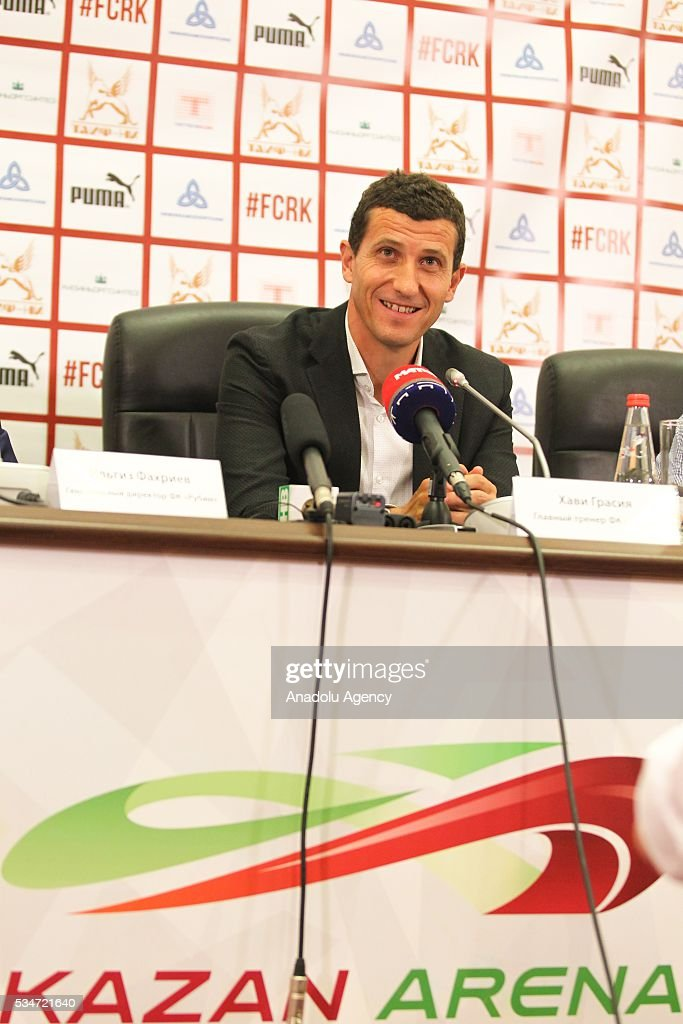 The new head coach of FC Rubin Kazan, Javier Gracia gives a speech during a press conference, held for his presentation at Kazan-Arena Stadium in Kazan, Russia, May 27, 2016.