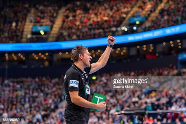 The new head coach of the handball national team of Germany Christian Prokop during the match Germany vs Sweden at Barclaycard Arena in Hamburg...