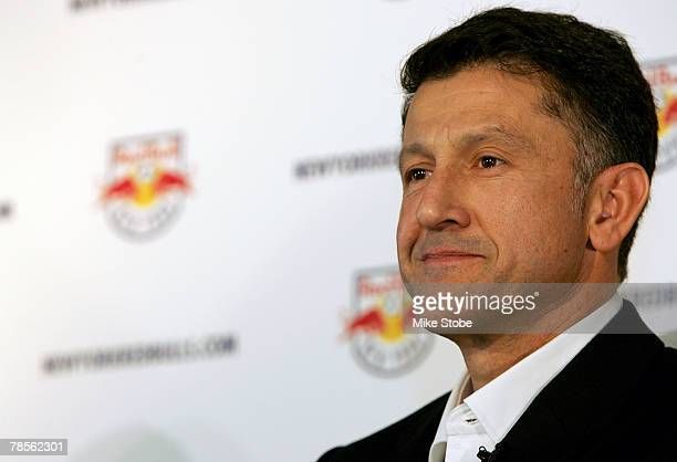 The new head coach of the New York Red Bulls Juan Carlos Osorio answers questions from the media during a press conference at the Gansevoort Hotel...