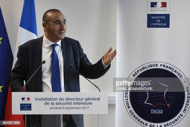 The new head of the DGSI Laurent Nunez delivers a speech at the DGSI heaquarters in LevalloisPerret on September 8 2017 / AFP PHOTO / Lionel...