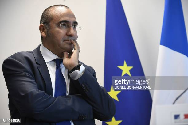 The new head of the DGSI Laurent Nunez poses at the DGSI heaquarters in LevalloisPerret on September 8 2017 / AFP PHOTO / Lionel BONAVENTURE