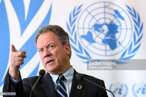The new head of the World Food Programme David Beasley attends a press conference about an updated aid appeal for South Sudan on May 15 2017 at the...