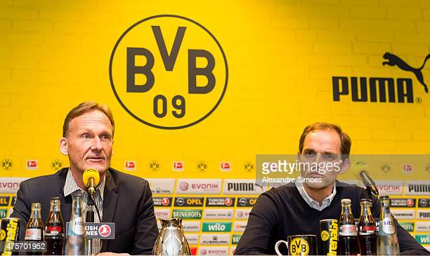 The new headcoach of Borussia Dortmund Thomas Tuchel and CEO HansJoachim Watzke attend a news conference at Signal Iduna Park on June 3 2015 in...