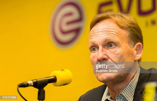 The new headcoach of Borussia Dortmund Thomas Tuchel with CEO HansJoachim Watzke attends a news conference at Signal Iduna Park on June 3 2015 in...
