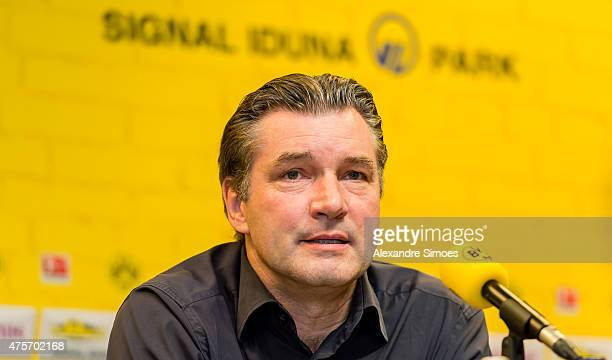 The new headcoach of Borussia Dortmund Thomas Tuchel with Sportmanager Michael Zorc attends a news conference at Signal Iduna Park on June 3 2015 in...