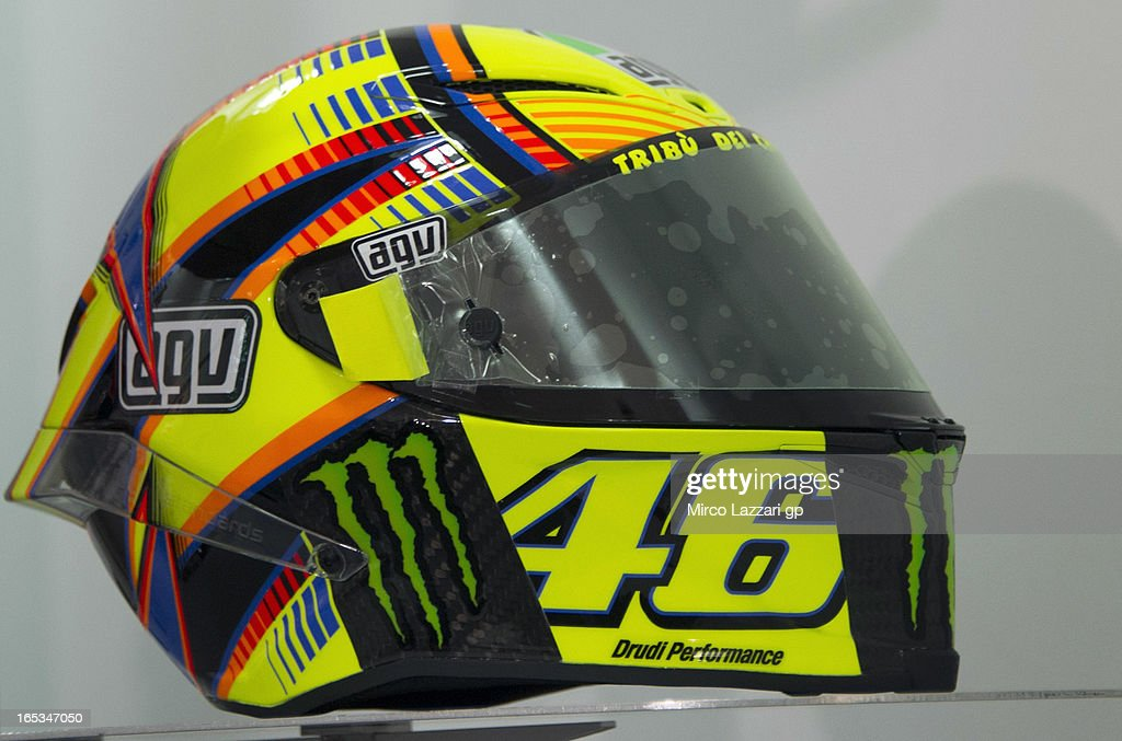The new helmet of Valentino Rossi of Italy and Yamaha Factory Racing during the press conference pre-event during MotoGp of Qatar at Losail Circuit on April 3, 2013 in Doha, Qatar.