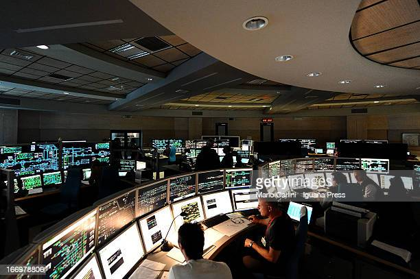 The new High Speed Train control and operating room of the italian railway station in Bologna on April 17 2013 in Bologna Italy