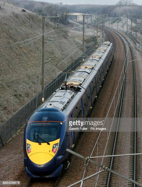 The new Hitachibuilt Class 395 train heads for London almost a year to the day ahead of the time it goes into passenger service UK's 'bullet train'...