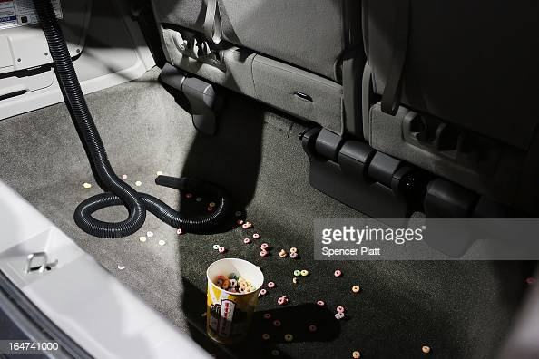 The new Honda 2014 Odyssey minivan equipped with a builtin vacuum cleaner is displayed at the 2013 New York International Auto Show on March 27 2013...