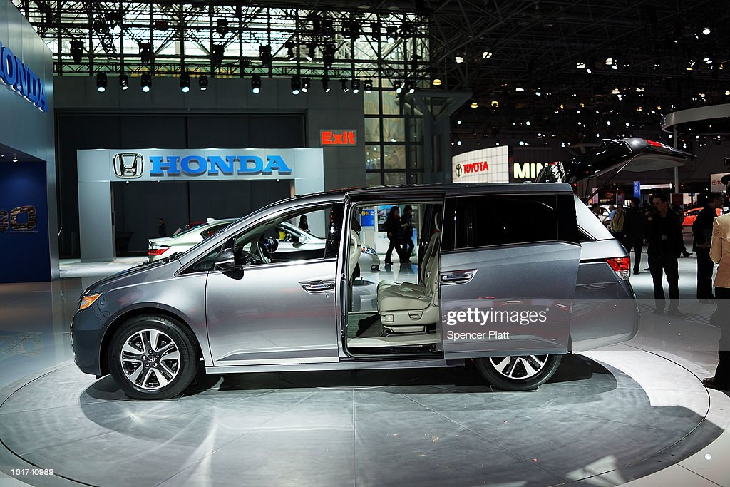 The new Honda 2014 Odyssey minivan is displayed at the 2013 New York International Auto Show on March 27 2013 in New York City The new minivan...