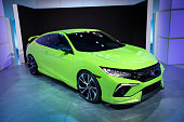 The new Honda Civic concept car is displayed at the New York International Auto Show at the Javits Center on April 1 2015 in New York City The auto...