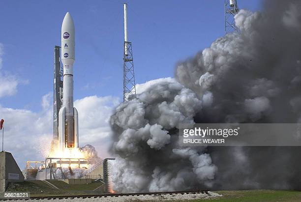 The New Horizons spacecraft atop an Atlas V rocket lifts off from launch pad 41 at the Kennedy Space Center Florida 19 January 2006 The spacecraft is...