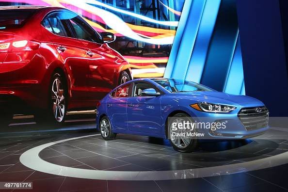 The new Hyundai Elantra is presented at the 2015 Los Angeles Auto Show on November 18 2015 in Los Angeles California The LA Auto Show was founded in...
