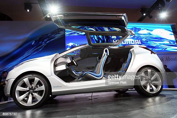 The new Hyundai gaselectric hybrid called 'Nuvis' is displayed on April 9 2009 in New York City Beginning Friday over 1 million visitors are expected...