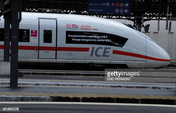 The new Ice 3 train of German national rail operator Deutsche Bahn arrives at the Gare de l'Est train station in Paris on July 23 2015 following its...