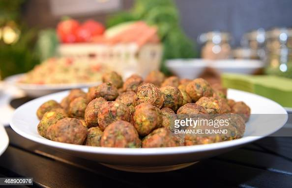 The new IKEA vegetarian meatballs are on display during a worldwide launch at IKEA Anderlecht on April 8 2015 IKEA who withdrew its signature Swedish...