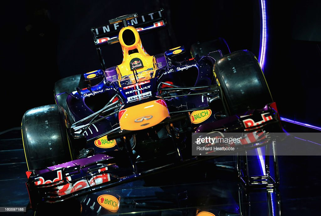 The new Infiniti Red Bull Racing RB9 at the launch on February 3, 2013 in Milton Keynes, England.