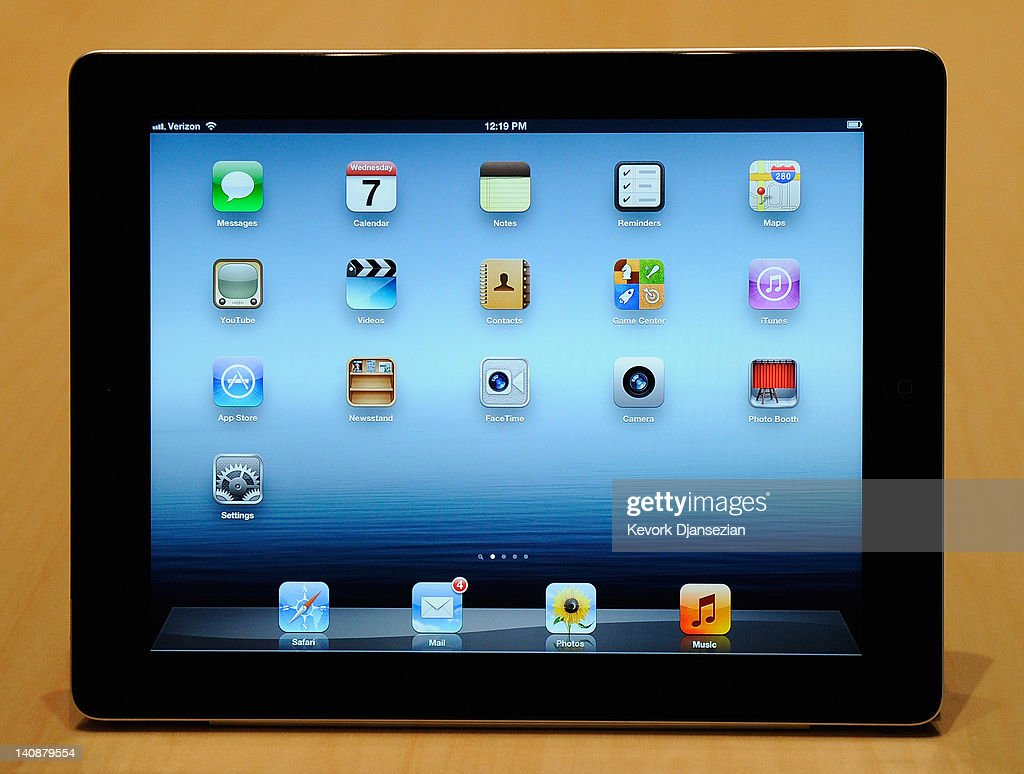 The new iPad is displayed during an Apple product launch event at Yerba Buena Center for the Arts on March 7, 2012 in San Francisco, California. In the first product release following the death of Steve Jobs, Apple Inc. introduced the third version of the iPad and an updated Apple TV.