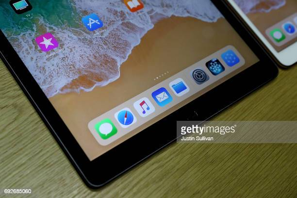 The new iPad Pro is displayed during the 2017 Apple Worldwide Developer Conference at the San Jose Convention Center on June 5 2017 in San Jose...
