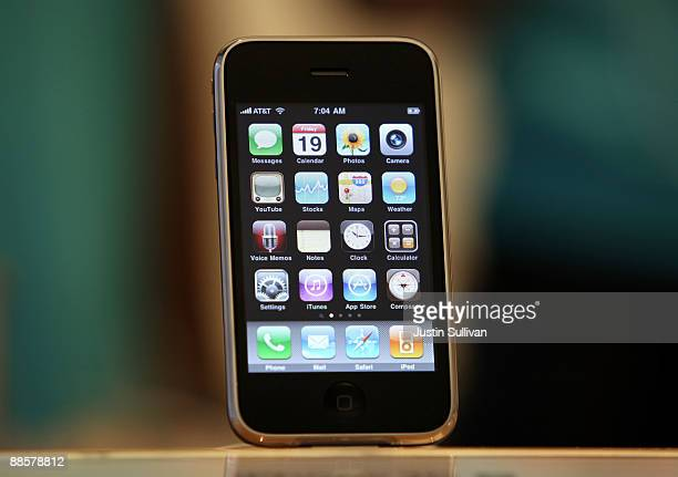 The new iPhone 3Gs is displayed at an Apple store June 19 2009 in San Francisco California Hundreds of people lined up at the Apple Store in San...