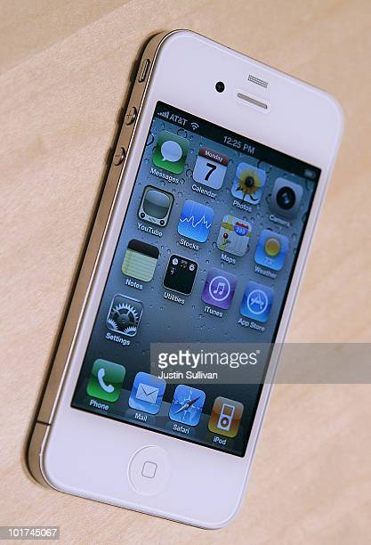 The new iPhone 4 is displayed at the 2010 Apple World Wide Developers conference June 7 2010 in San Francisco California Apple CEO Steve Jobs kicked...