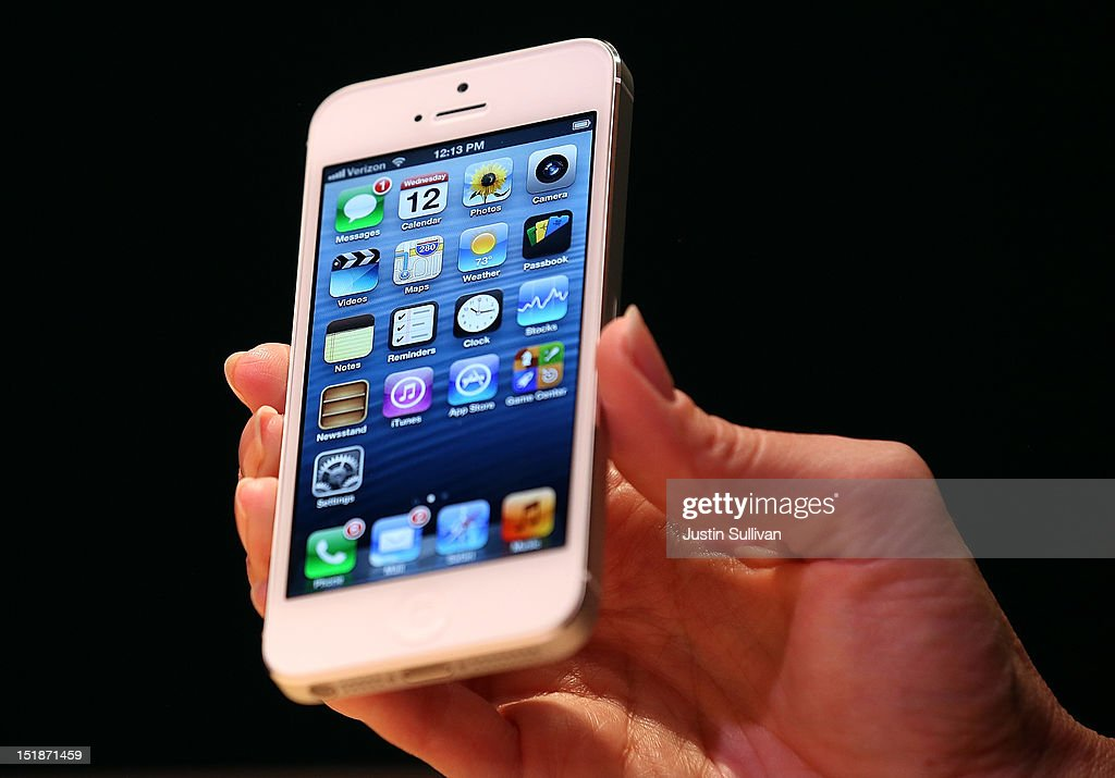 The new iPhone 5 is displayed during an Apple special event at the Yerba Buena Center for the Arts on September 12, 2012 in San Francisco, California. Apple announced the iPhone 5, the latest version of the popular smart phone as well as new updated versions of the iPod Nano, Shuffle and Touch.