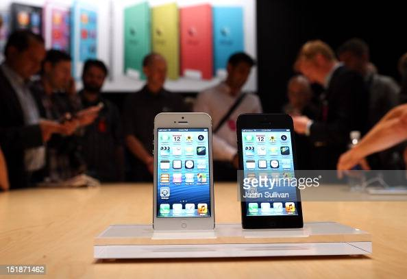 The new iPhone 5 is displayed during an Apple special event at the Yerba Buena Center for the Arts on September 12 2012 in San Francisco California...
