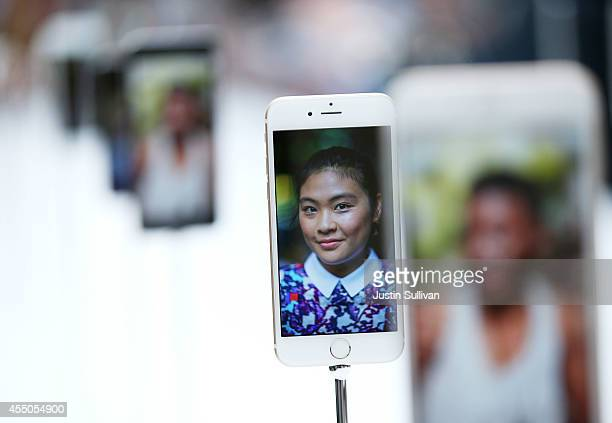 The new iPhone 6 is displayed during an Apple special event at the Flint Center for the Performing Arts on September 9 2014 in Cupertino California...