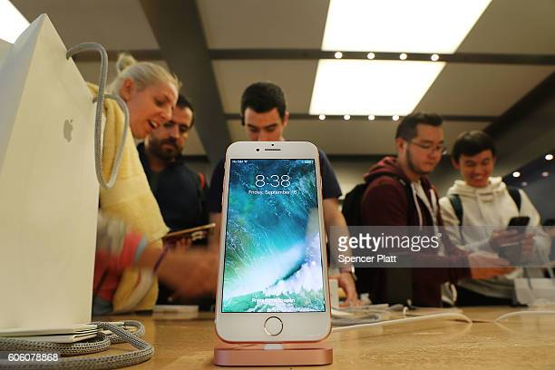 The new iPhone 7 is displayed on a table at an Apple store in Manhattan on September 16 2016 in New York City People around the globe waited in long...