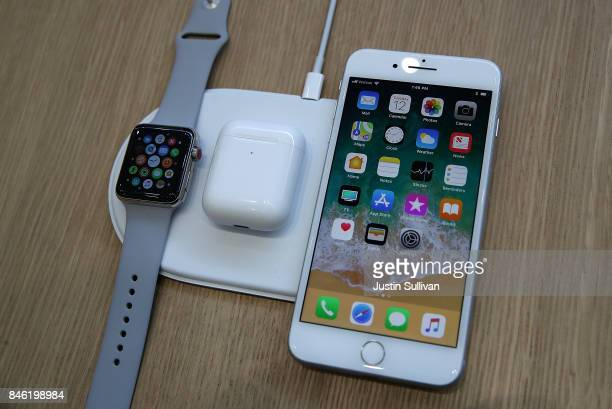 The new iPhone 8 and Apple Watch Series 3 are displayed on the new AirPower during an Apple special event at the Steve Jobs Theatre on the Apple Park...