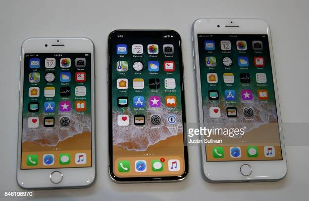 The new iPhone 8 iPhone X and iPhone 8S are displayed during an Apple special event at the Steve Jobs Theatre on the Apple Park campus on September...