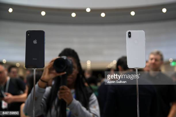 The new iPhone X is displayed during an Apple special event at the Steve Jobs Theatre on the Apple Park campus on September 12 2017 in Cupertino...