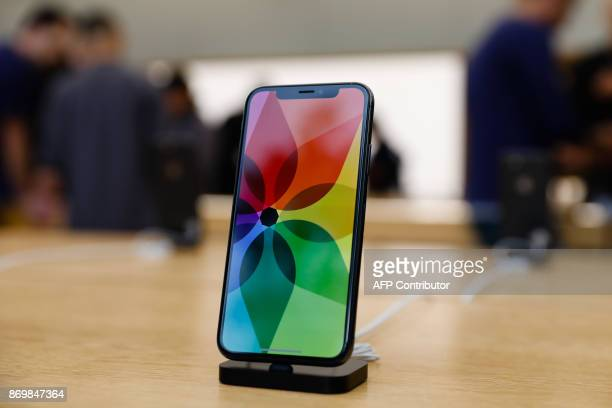 The new iPhone X is seen in the Apple Store Union Square on November 3 in San Francisco California Apple's flagship iPhone X hits stores around the...