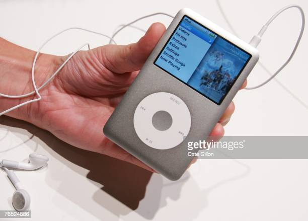 The new Ipod Classic is held at the UK launch of the product at the BBC on September 5 2007 in London England Steve Jobs spoke to the press at the...