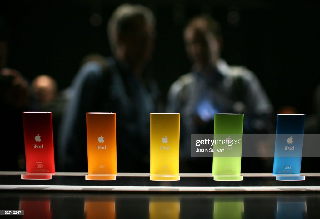 The new iPod Nano is displayed during an Apple special event September 9, 2008 in San Francisco, California. Apple CEO Steve Jobs announced a new version of the popular iTunes software new versions of the iPod Nano and Touch.