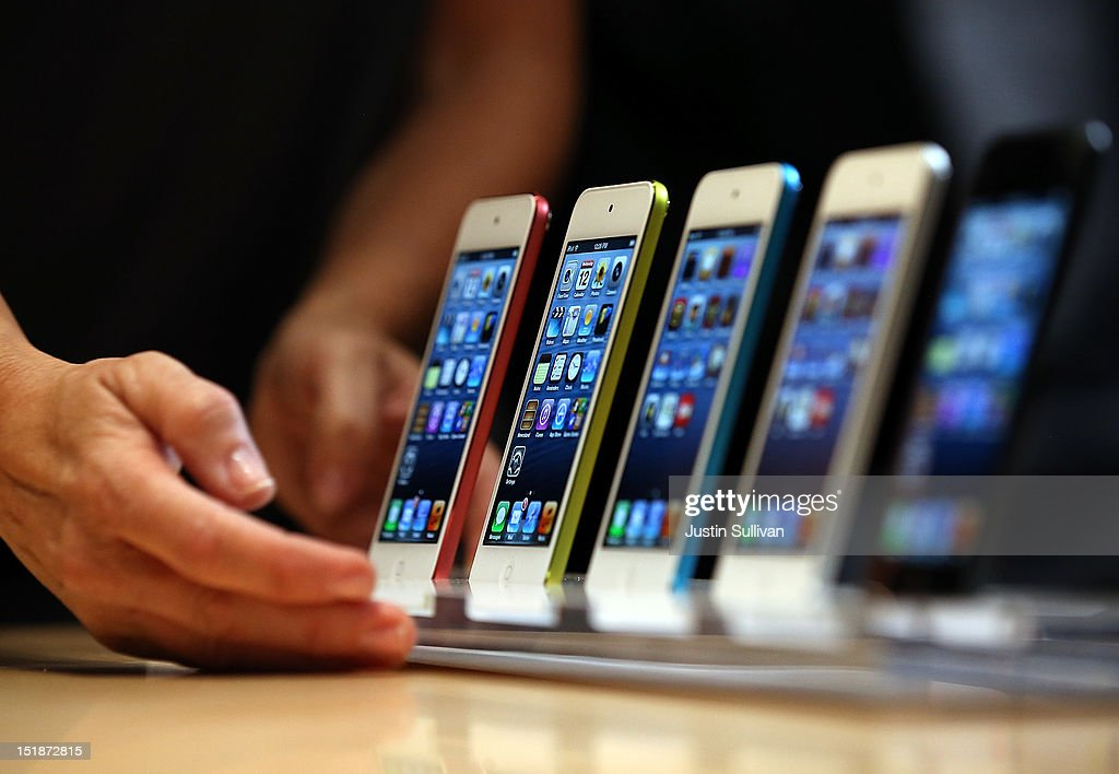 The new iPod Touch is displayed during an Apple special event at the Yerba Buena Center for the Arts on September 12 2012 in San Francisco California...