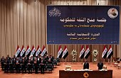 The new Iraqi government members attend a swearing in ceremony at the parliament in Baghdad on September 8 2014 Iraqi MPs approved Haidar alAbadi's...