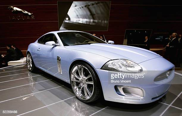 The new Jaguar Advanced Lightweight Coupe is seen at the 75th International Geneva Motor Show press preview on March 1 2005 in Geneva Switzerland The...