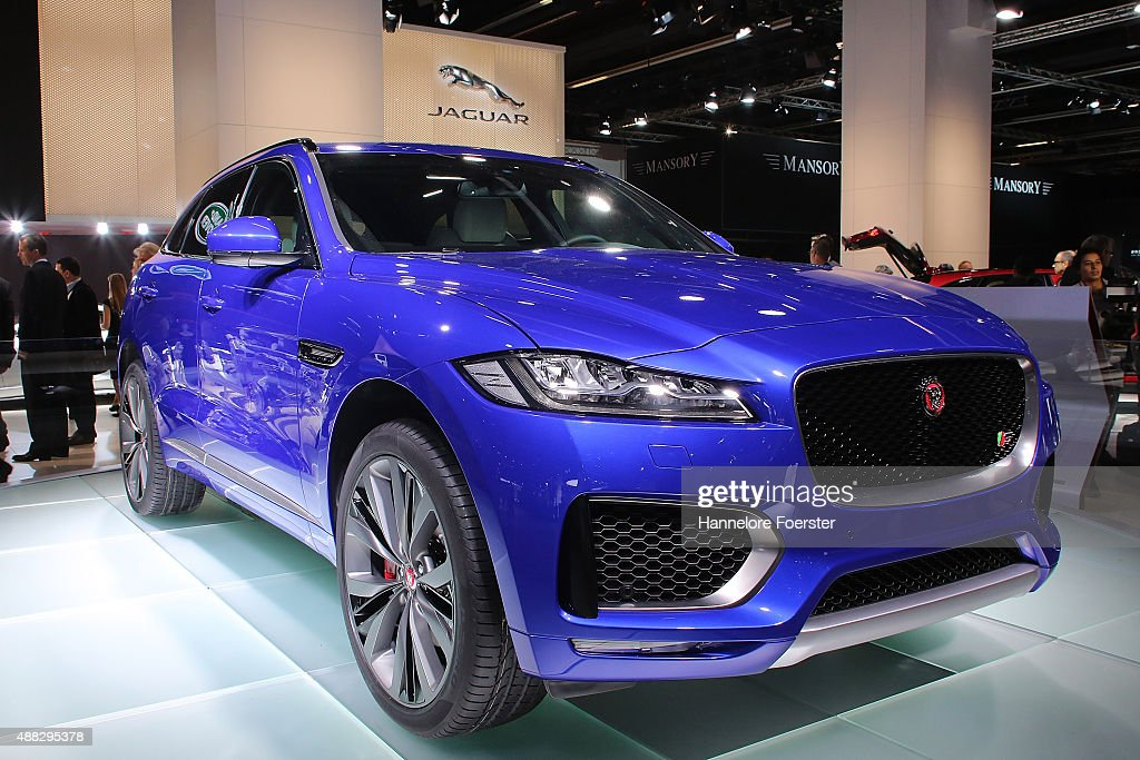 The new Jaguar FPace SUV stands at the Jaguar stand at the 2015 IAA Frankfurt Auto Show during a press day on September 15 2015 in Frankfurt Germany...
