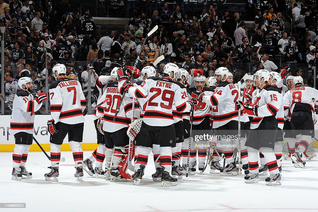 The New Jersey Devils celebrate after defeating the Los Angeles Kings in Game Four of the 2012 Stanley Cup Final at Staples Center on June 6, 2012 in Los Angeles, California.