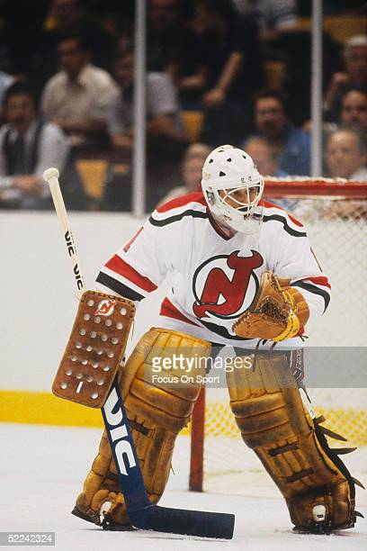 The New Jersey Devils' goalie Glenn 'Chico' Resch guards the corner during a game at the Meadowlands Arena for the 198283 season in East Rutherford...