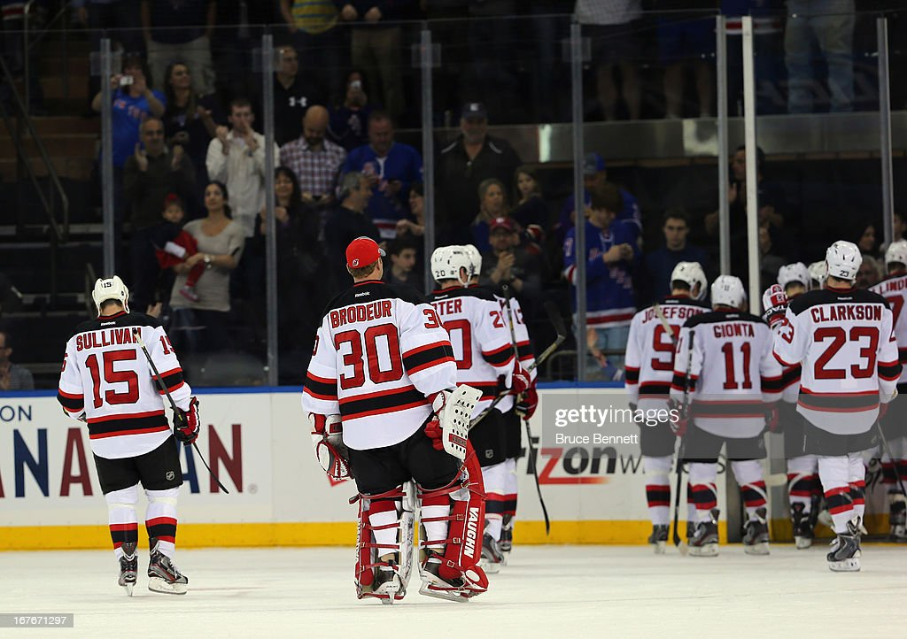 The New Jersey Devils leave the ice following a 4-0 shutout loss to the New York Rangers in the final game of their season at Madison Square Garden on April 27, 2013 in New York City.The Rangers shut out the Devils 4-0.