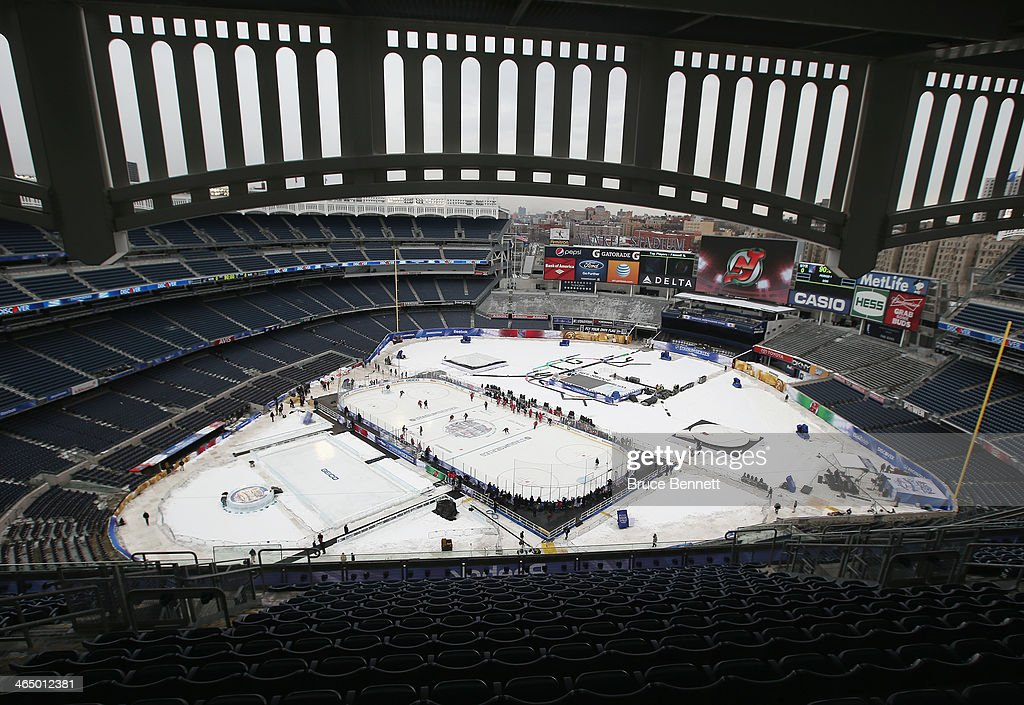 The New Jersey Devils practice the day before their outdoor game against the New York Rangers at Yankee Stadium on January 25, 2014 in the Bronx borough of New York City.