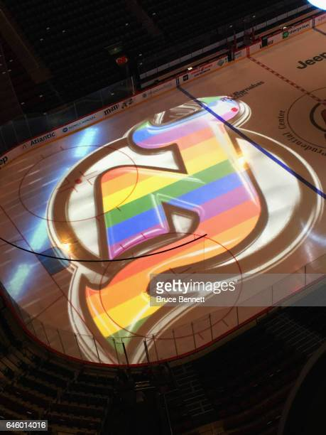 The New Jersey Devils prepare a presentation for 'Hockey is for Everyone' night against the Montreal Canadiens at the Prudential Center on February...