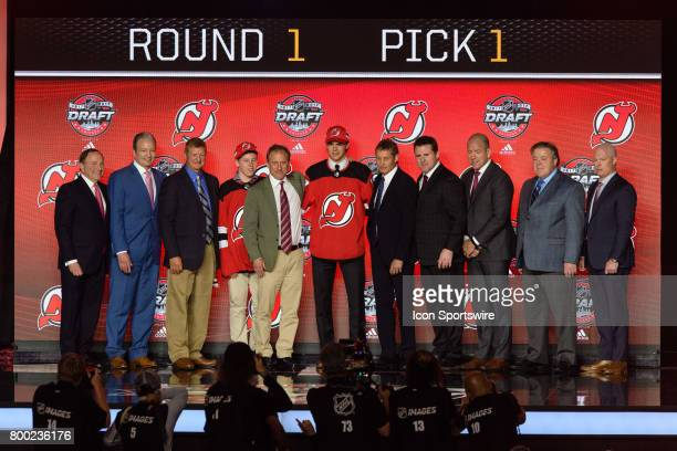 The New Jersey Devils select center Nico Hischier with the 1st pick in the first round of the 2017 NHL Draft on June 23 at the United Center in...