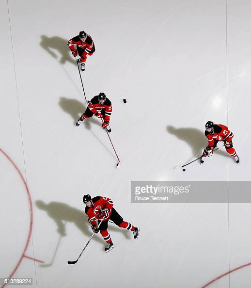The New Jersey Devils warmup prior to the game against the Carolina Hurricanes at the Prudential Center on March 1 2016 in Newark New Jersey The...