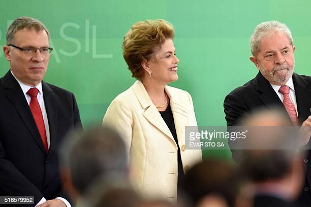The new Justice Minister Eugenio Aragão Brazilian President Dilma Rousseff and former president Luiz Inacio Lula da Silva during the minister's...