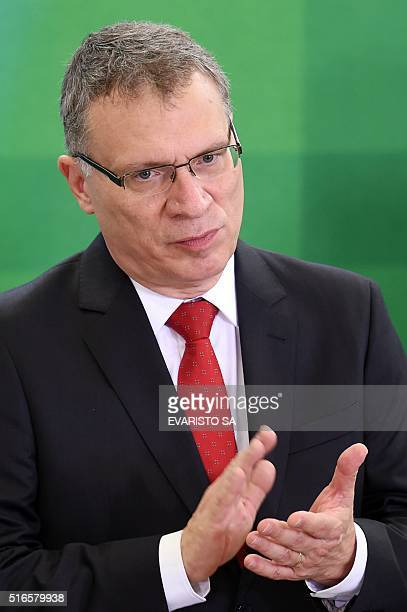The new Justice Minister Eugenio Aragão gestures during his swearingin ceremony at the Planalto Palace in Brasilia on March 17 2016 Aragão said in an...